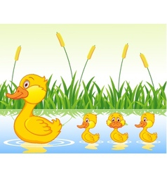 Family duck cartoon vector