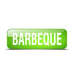 Barbeque green square 3d realistic isolated web vector