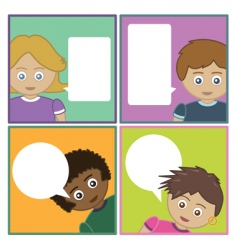 kids with speech bubbles vector image