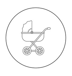 Baby transport icon in outline style isolated on vector