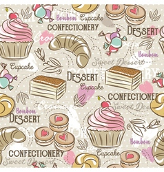 Background with cupcake croissan cake and bonbon vector