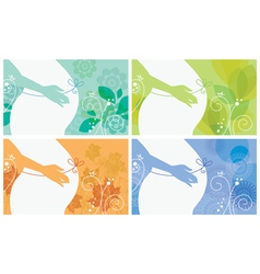 Banner set of silhouette of pregnant woman vector image