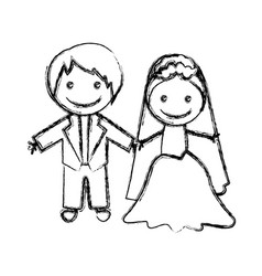 Blurred hand drawn silhouette with married couple vector