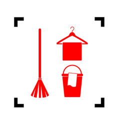 broom bucket and hanger sign red icon vector image
