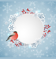 bullfinch and white snowflakes vector image vector image