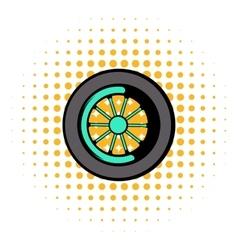 Car wheel icon comics style vector