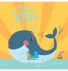 cartoon cute blue whale vector image