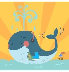 cartoon cute blue whale vector image