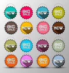 Colorful New - Big Sale Labels - Paper with String vector image vector image