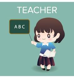 Cute cartoon or mascot teacher for introducing vector
