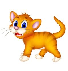 Cute cat cartoon walking vector