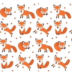 Cute fox seamless pattern Foxy endless background vector image vector image