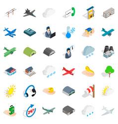 Dispatcher icons set isometric style vector