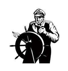 Fisherman sea captain at helm retro vector