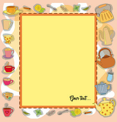 frame with tea accessories vector image vector image