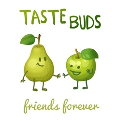 Green apple and pear with leaf characters cartoon vector