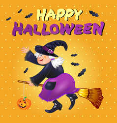 halloween card with funny old witch vector image