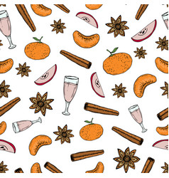 Hand draw seamless pattern with mulled wine vector