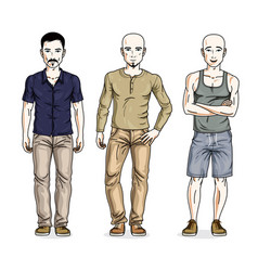 Handsome men posing in stylish casual clothes vector