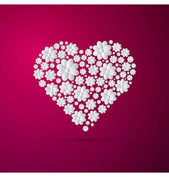 Heart Made from Paper Flowers on Pink Background vector image vector image