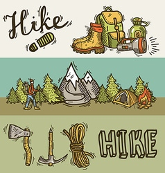 Hiking baners vector