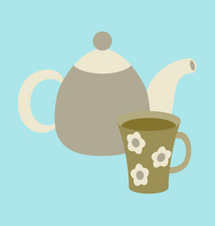 Icon in flat design for restaurant tea kettle and vector