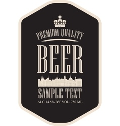 Label beer with the old town vector