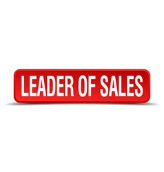 Leader of sales red 3d square button isolated on vector