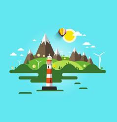 lighthouse flat design nature scene ocean or sea vector image