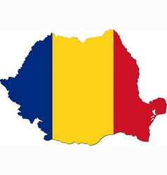 Map of Romania with national flag vector image