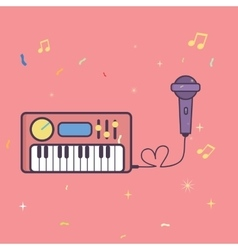 microphone and keyboard piano music instrument vector image