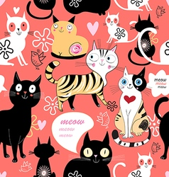 Pattern in love with a cat vector