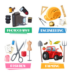 professions tools and items set vector image vector image