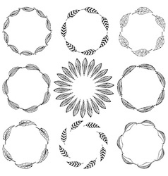 Set of feather borders decorative frame vector image vector image