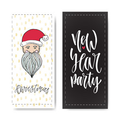 Set of hand drawn christmas party and new year vector