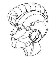 Steam punk style girl head coloring book vector