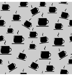 Tea or coffee cups on gray background vector image