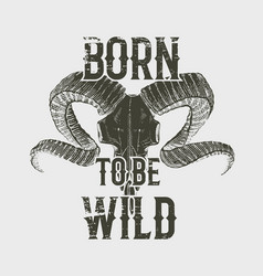 tee print skull mountain goat with horns t-shirt vector image vector image