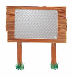 wood sign metal vector image