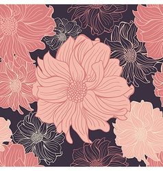 Hand-drawn flowers of dahlia Seamless background vector image