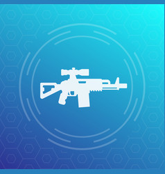 Assault rifle icon gun with optical sight vector