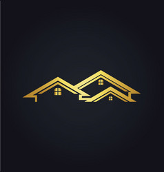 Home realty business company gold logo vector