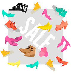 Colorful woman footwear sale advertising template vector
