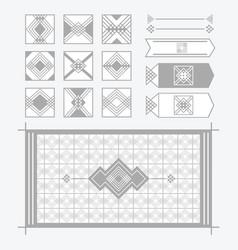 Light gray geometrical tiles patterns set vector