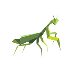 Origami green praying mantis vector