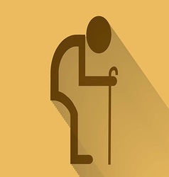 Old man symbol flat long shadow vector