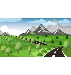 Spring or summer road to the mountain vector