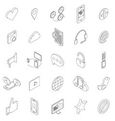 Internet icons set isometric 3d style vector