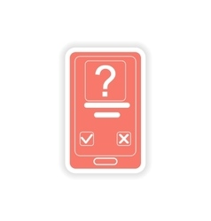 paper sticker on white background Mobile Phone SMS vector image