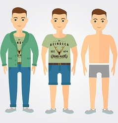 Man outfits underwear casual and sport in flat vector